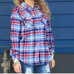 New with tag blue & red flannel long sleeve top L